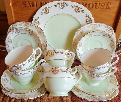 Vintage Green White Gold Harlequin Tea Set Royal Vale Cups Saucers Plates