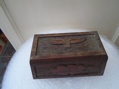 quirky antique wooden sweetheart box with message & interesting military history