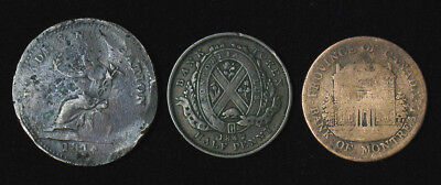 Lot of 3 Canada Bank of Montreal Half 1/2 Penny 1842, 1844 & 1814 Novia Scotia P