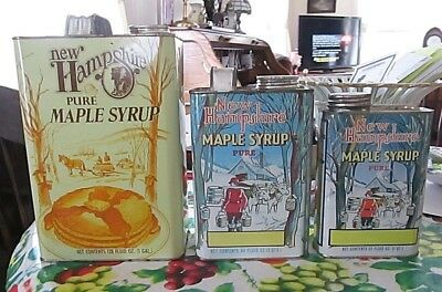 3 Vintage Tin N.H. Pure Maple Syrup cans 1 Gal. 1/2 Gal. Quart size!!