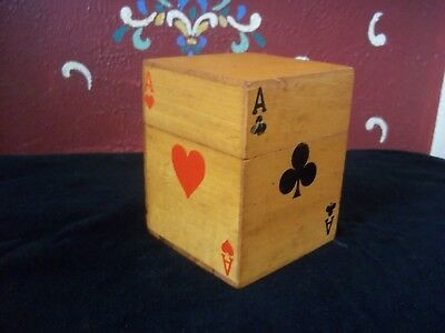 Vintage Wood Playing Card Box Double Deck With 2 Hole Pencil Holder