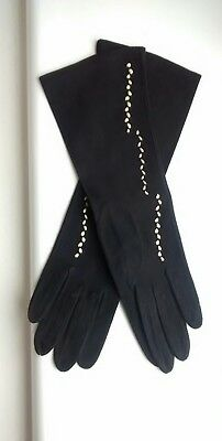 Vintage 50s/60s Black Leather Suede Long Gloves Gold Detail Size 6.5