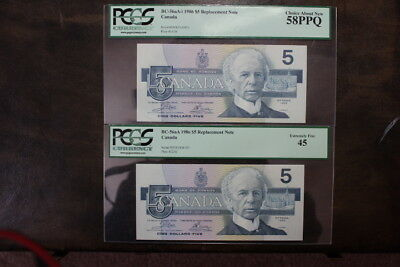 2 1986 Bank of Canada $5 ENX Replacements Blue and Yellow BPN BC-56aA and 56aA-i