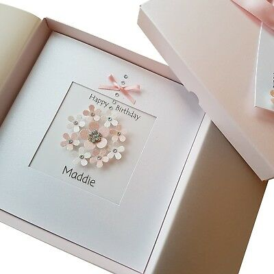 Luxury Handmade Personalised Boxed Birthday Card Mum Wife Nan