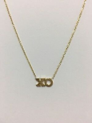 14K Solid Yellow Gold Xo Necklace On 14K Cable Chain