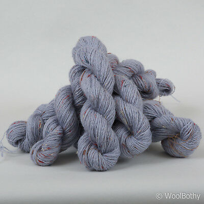 *250g*PURE BRITISH WOOL* 4 Ply. Blue sky tweed. yarn.knitting.lace.neps.red.100%