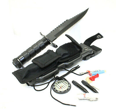"""Ramster 12"""" Combat Survival Knife Kit Compass Hunting Fishing Emergency Safety"""