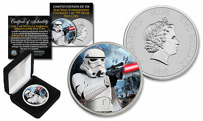 2018 NZM Niue 1 oz Pure Silver BU Star Wars STORMTROOPER Coin with HOTH BATTLE