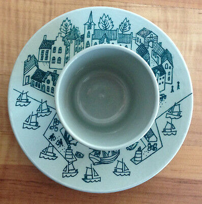 NYMOLLE Denmark HOYRUP Art Faience Limited Edition 4006 Cup & Saucer Harbor