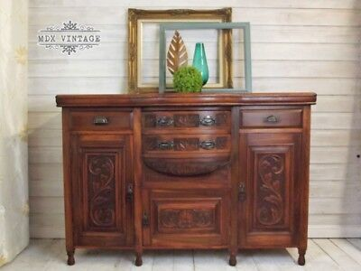 Edwardian Beech sideboard with bow front and releif detailing