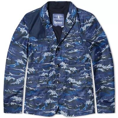 NWT Barbour x White Mountaineering Wave Print Lapel Waxed Jacket Large Slim Fit