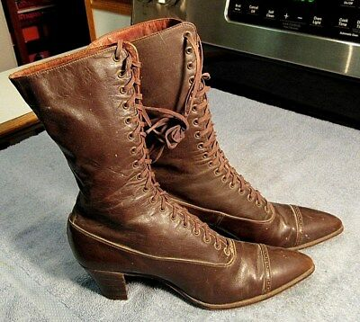 ANTIQUE VICTORIAN 1800's SEXY VERY NICE POINTED TOE LACE UP LADIES LEATHER BOOTS