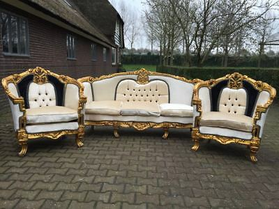 Antique French Living Room Set - Sofa/sette + 2 Chairs/fauteuils