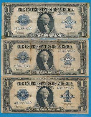 3-$1.00 1923 Blue Seal Silver Certificate Imperfect Dealers Lot