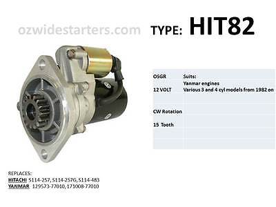 Yanmar starter motor suits various 3 cyl, 4 cyl engines from 1982 on