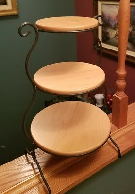 Longaberger Wrought Iron 3 Tiered Mixing Bowl Stand w/ Woodcrafts Shelves