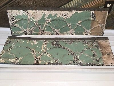 """2pc Lot of 36"""" by 11"""" Antique Ceiling Tin Vintage Reclaimed Salvage Art Craft"""