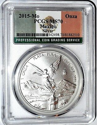 2015 MX Libertad Onza 1 Ounce Uncirculated  MS 70 .PCGS Certified 1 Ounce Coin