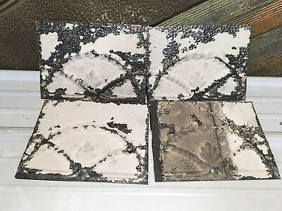"4pc Lot of 12"" by 9"" Antique Ceiling Tin Vintage Reclaimed Salvage Art Craft"