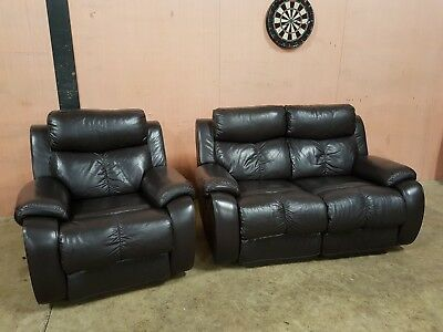 Dfs Memphis Leather Reclining Suite 2 Seater Sofa Armchair Pristine Clean Del