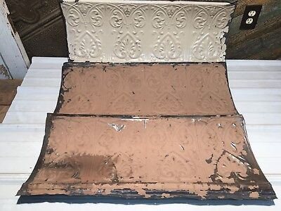 """3pc Lot of 32"""" by 14"""" Antique Ceiling Tin Vintage Reclaimed Salvage Art Craft"""