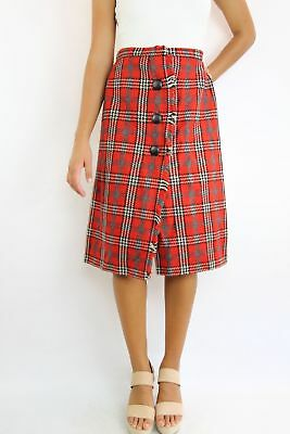Vintage Retro ROCHE of Sydney Red Wool 80's Plaid Tartan Wrap Midi Winter Skirt