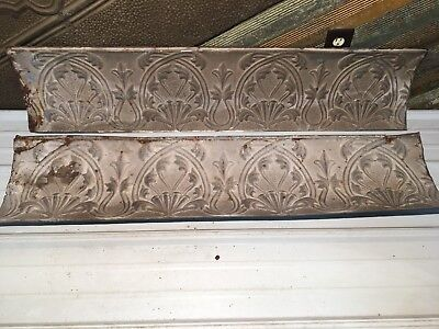 """2pc Lot of 48"""" by 10.5"""" Antique Ceiling Tin Vintage Reclaimed Salvage Art Craft"""