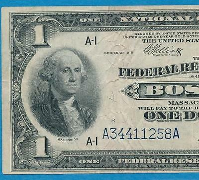 $1.00 1918 Fr.710  Boston  Federal Reserve Banknote Vf  Large Eagle Reverse