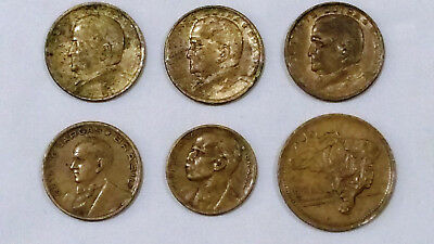 6 Vintage COINS of BRAZIL 1944-1956 misc amounts, good shape, Free Shipping!