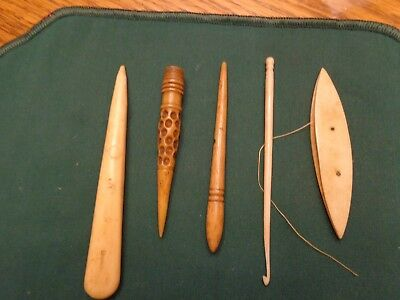 Antique Sewing Tools, Bone Tatting Shuttle, Punch Tools,Needle Case And Hook