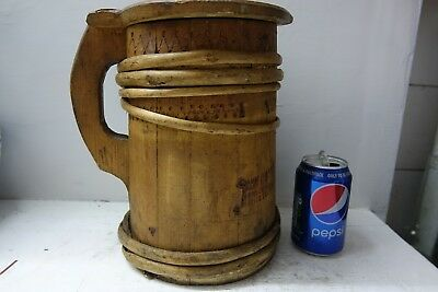 Very Interesting Large Old Wooden Tankard - Info Welcome - Very Rare - L@@k
