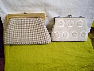 """Vintage Handbags X 2 (Two) Beaded X 1 & Metal """"sterling Mesh"""" With 3 Way Use X 1"""
