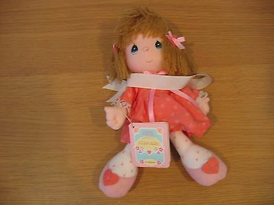 1989 PRECIOUS MOMENTS Plush Girl Doll w/ February Booklet Marked Easter Eition