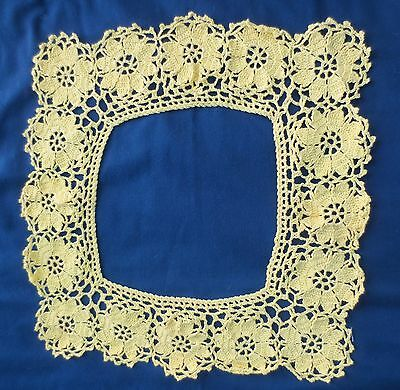 Vtg Hand crochet Lace Collar square sunshine lemon yellow 1960's Excellent