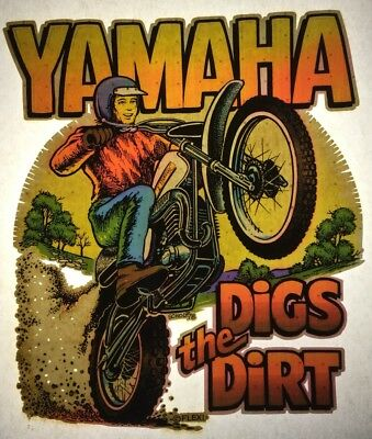 Yamaha Digs The Dirt Motorcross Authentic retro tshirt transfer print new NOS
