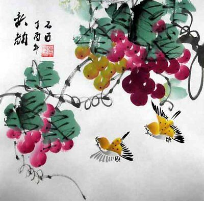 """Oriental Chinese Brush Painting Feng Shui Ink Art-Birds Lover Grapes 13x13"""""""
