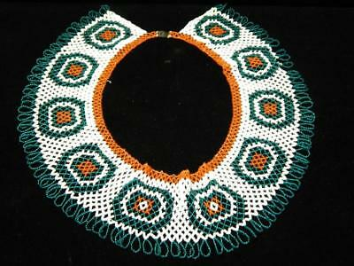 Vintage Apache / Ute Indian Netted Bead Collar - Wide And Very Showy - Nr