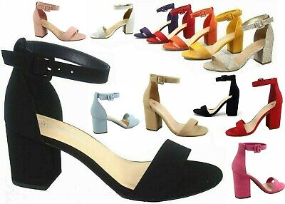 NEW Women's Color Ankle Strap Chunky Low Heel Dress Sandal Shoes Size 5 - 10