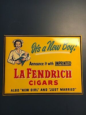 Reduced Again! - Vintage Tin Graphic La Fendrich Cigar Sign With Baby and Nurse