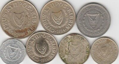 7 different world coins from CYPRUS