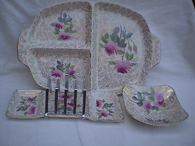 "Vintage ""midwinter Stylecraft"" X 3 Pcs. Roses/gold Decoration Timeless Appeal!"