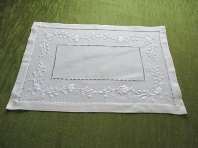 Pretty Tray Cloth-Hand Embroidered Flowers+Hemstiching-Unused