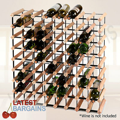 72 Bottle Wooden Wine Rack Timber Steel Storage Holder Stand Organiser Cellar
