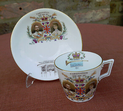 """Shelley for Bentall's  """"King George V Coronation 1911""""  Cup & Saucer"""