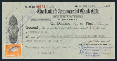 Australia: Singapore 1963 UNITED COMMERCIAL BANK £A574/8/6d Draft with stamps