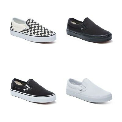 549b7ab8b94 New Vans Slip On Shoes Classic Black White Canvas Sneakers All Sizes נעלי  ואנס