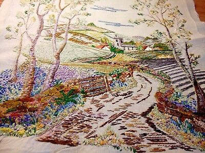 Vintage Intricate Embroidery Picture / Panel Country Church , Cottages Bluebells