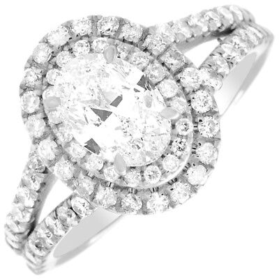 GIA Certified Oval Cut Diamond Engagement Ring 2.25 CTW Double Halo Style 18K