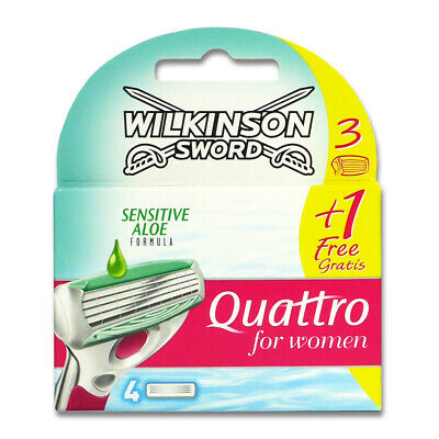 Wilkinson Quattro for Women Sensitive Rasierklingen, 4er Pack