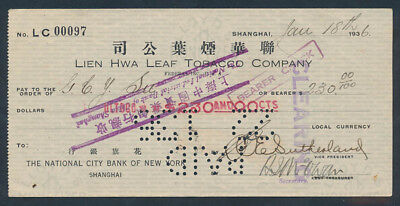 China: JAPANESE OCCUPATION WWII 1936 Lien Hwa Leaf Tobacco Co. Cheque for $230